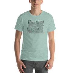 Oregon Map State Maze Short-Sleeve Unisex T-Shirt | Portland / Mt. Hood / Salem / Eugene / Medford | Hand-Designed for Men and Women