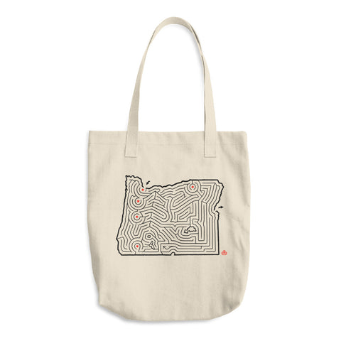 Oregon Map Maze Cotton Canvas Tote Bag | Mt. Hood / Salem / Eugene / Medford | Hand-Designed