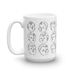 Worried Babies Mug | Funny Baby Faces Pen and Ink Illustration White Ceramic Coffee Cup