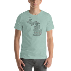 Michigan Map Maze Short-Sleeve Unisex T-Shirt | Lansing / Detroit / Grand Rapids / Upper Peninsula / Houghton / Ann Arbor