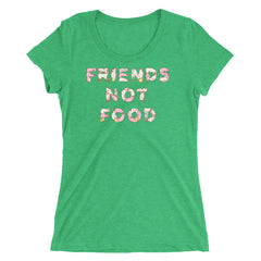 Friends Not Food | Funny Vegan/Vegetarian Ladies Short-Sleeve T-Shirt | Farm Animal Hand Lettering
