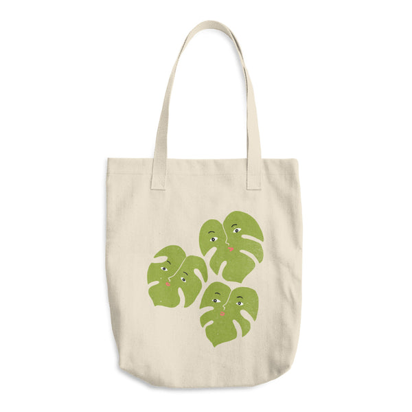 Monstera Split Leaf Trio Cotton Canvas Tote Bag | Funny Plants with Faces