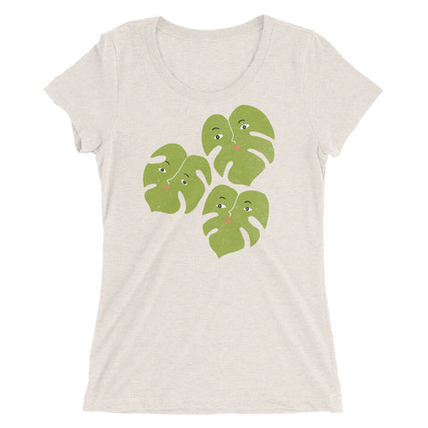 Ladies' Scoopneck T-Shirt | Monstera Split Leaf Trio T-Shirt | Funny Plants with Faces