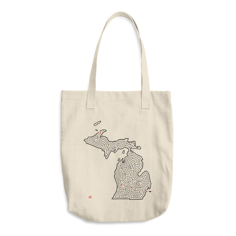 Michigan Map Shaped State Maze Cotton Tote Bag