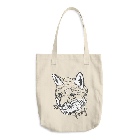 Furry Foxy Fox Friend Screen Printed Cotton Tote Bag