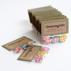 Vintage Fabric Magnets | Handmade with Tiny Floral Calico