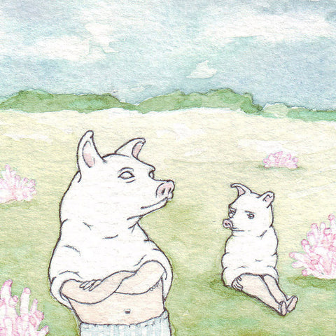 Piggies | Miniature Watercolor Drawing by Marie Gardeski