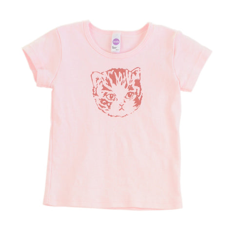 Fitted Ribbed Girls Light Pink Kitty Tee | Screen Printed with Cute Cat