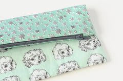 Zip Pouch / Poodles and Stars / Original Fabric Designs