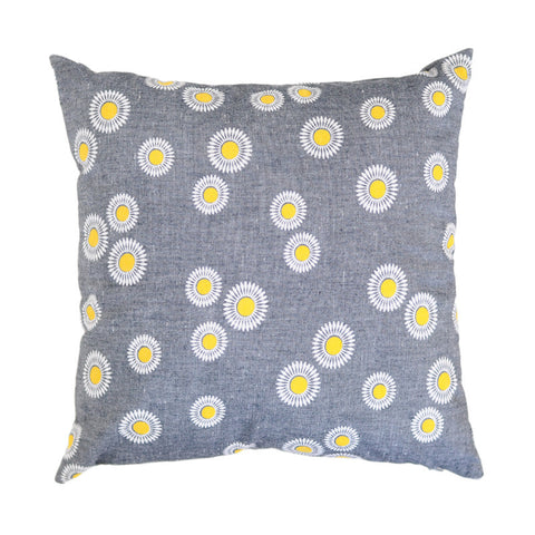 Vintage Chambray Flower Pillow Cover | Cushion | Handmade