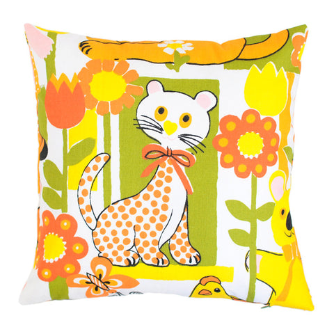 Kids Cushion | Pillow Cover from Vintage Fabric | Bright Creatures | Handmade