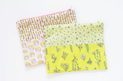 Plants and Stars Zip Pouch / Handmade with Original Fabric Designs