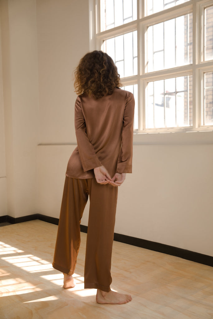 Silk Shirt and Pant Set - Bronze