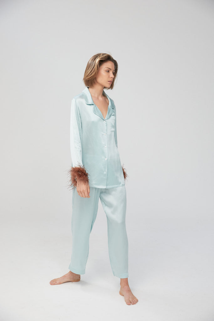 Jasmine Shirt with Ostrich Trim - Aqua