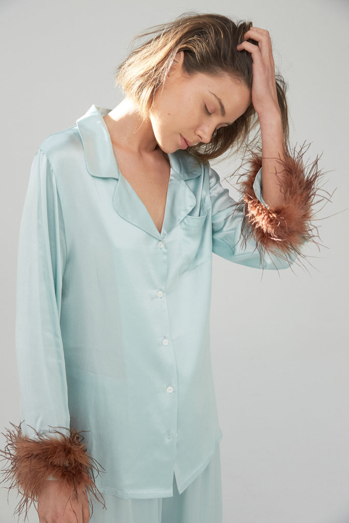 Silk Shirt and Pant Feather Set - Aqua