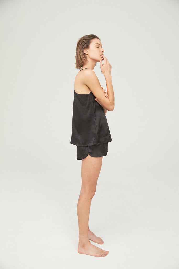 Silk Camisole and Short Set - Black