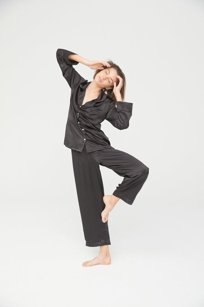Silk Shirt and Pant Set - Black