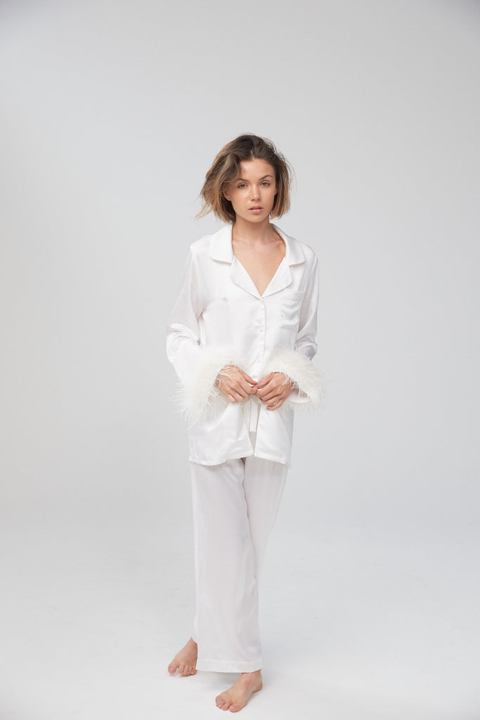 Silk Shirt with Ostrich Trim - Ivory
