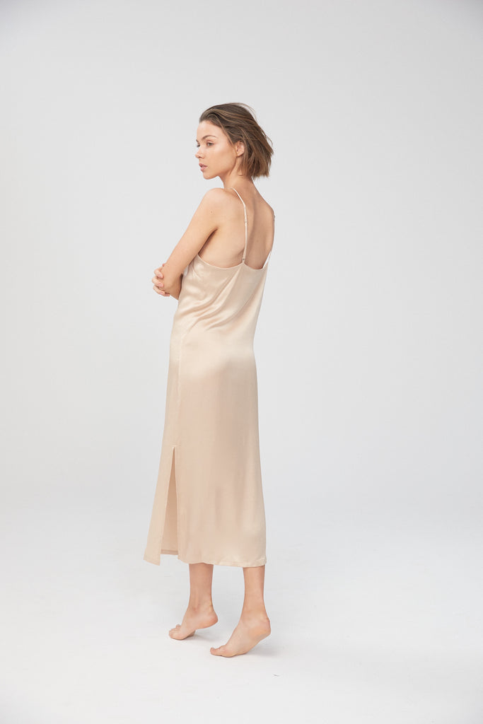 Silk Midi Slip - Champagne (30% OFF AT CHECKOUT)
