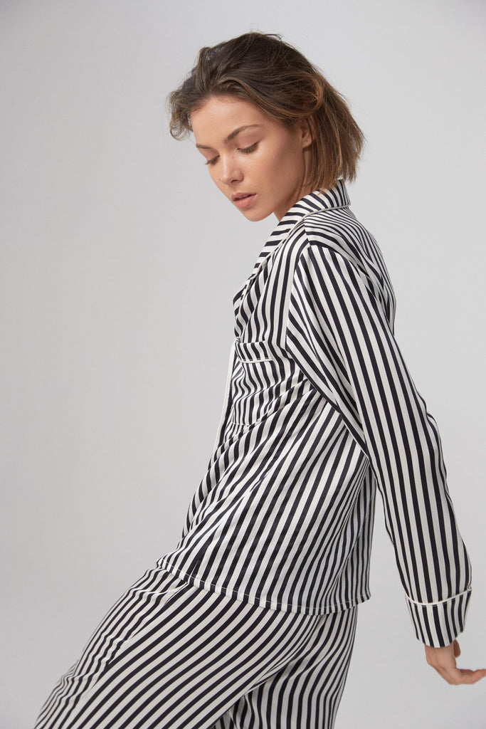 Silk Shirt - Monochrome Stripe