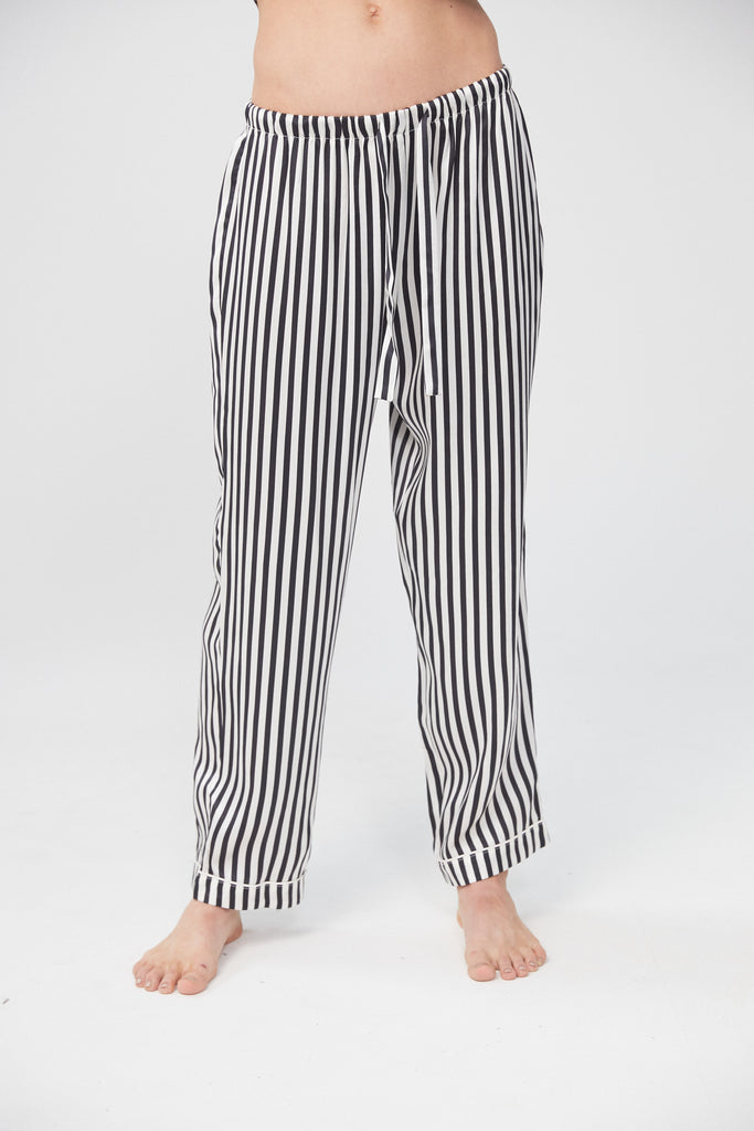 Silk Pant - Monochrome Stripe