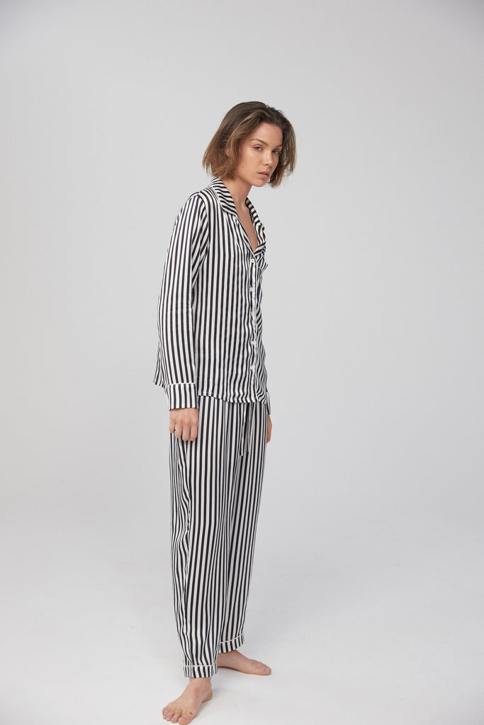 Silk Shirt and Pant Set - Monochrome Stripe