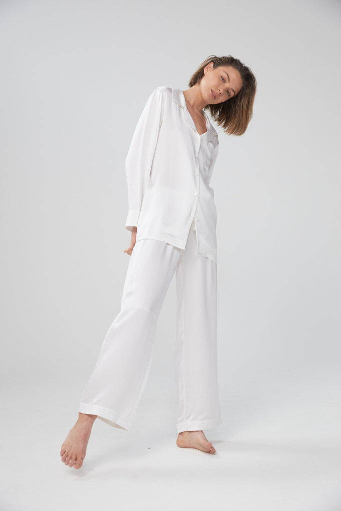 Silk Shirt and Pant Set - Ivory