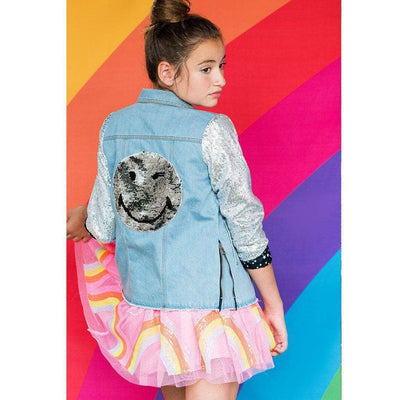 Lola & The Boys Jackets & Bombers Emoji sequin flip denim