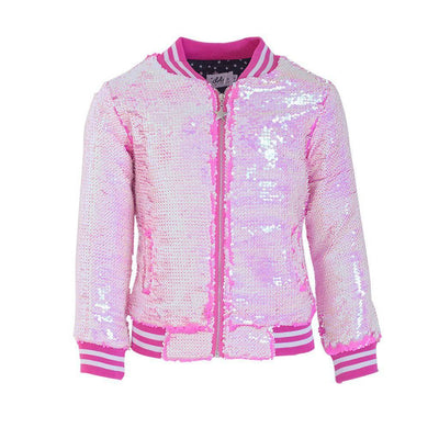 Lola + The Boys Jackets & Bombers Neon Pink Sequin Flip Bomber