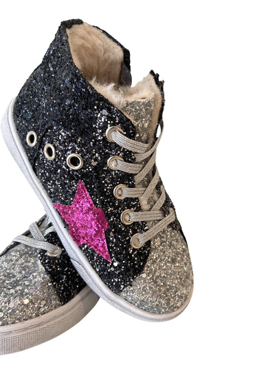 Lola + The Boys Shoes Glitter Star Hi Top Sneakers
