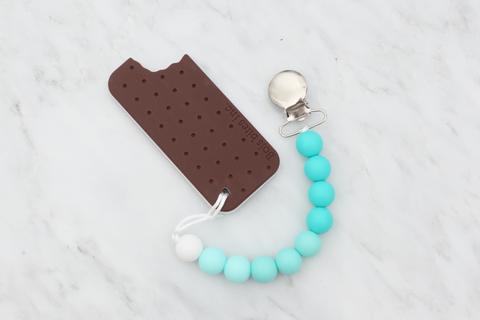 ice cream sandwich teether silicone teether and soother clip