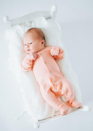Organic Footed Romper | Coral - Leo + Cullie