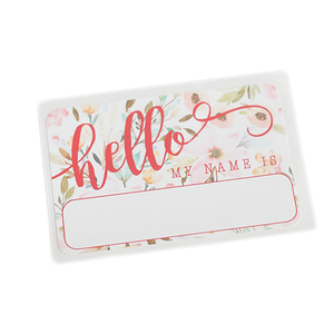 """Hello"" Name Tag - Floral - Leo + Cullie"