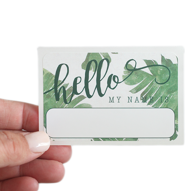 """Hello"" Name Tag - Banana Leaf - Leo + Cullie"