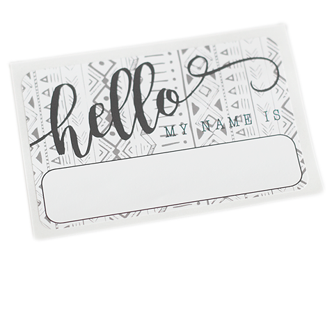 """Hello"" Name Tag - Tribal - Leo + Cullie"