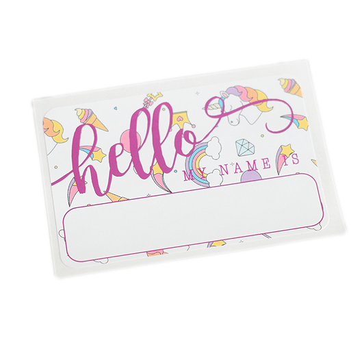 """Hello"" Name Tag - Unicorns - Leo + Cullie"