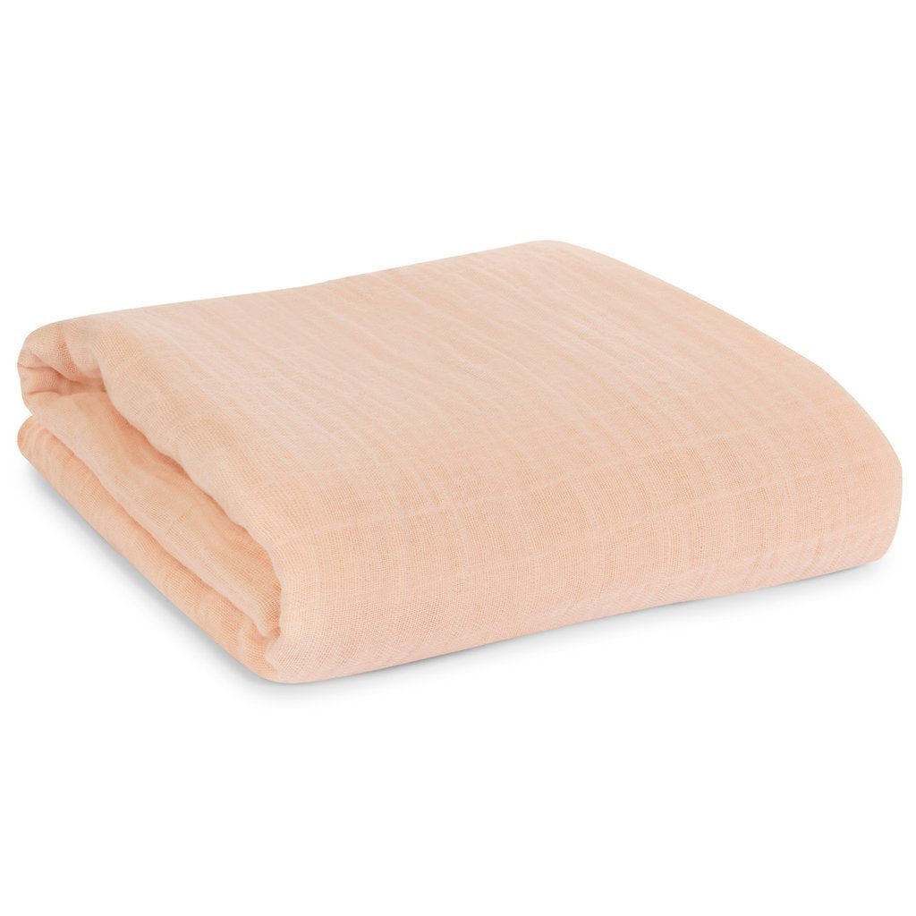 Organic Cotton Muslin Swaddle | Dusty Pink - Leo + Cullie