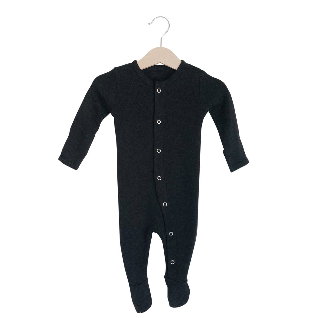 Organic Button Footie | Black - Leo + Cullie