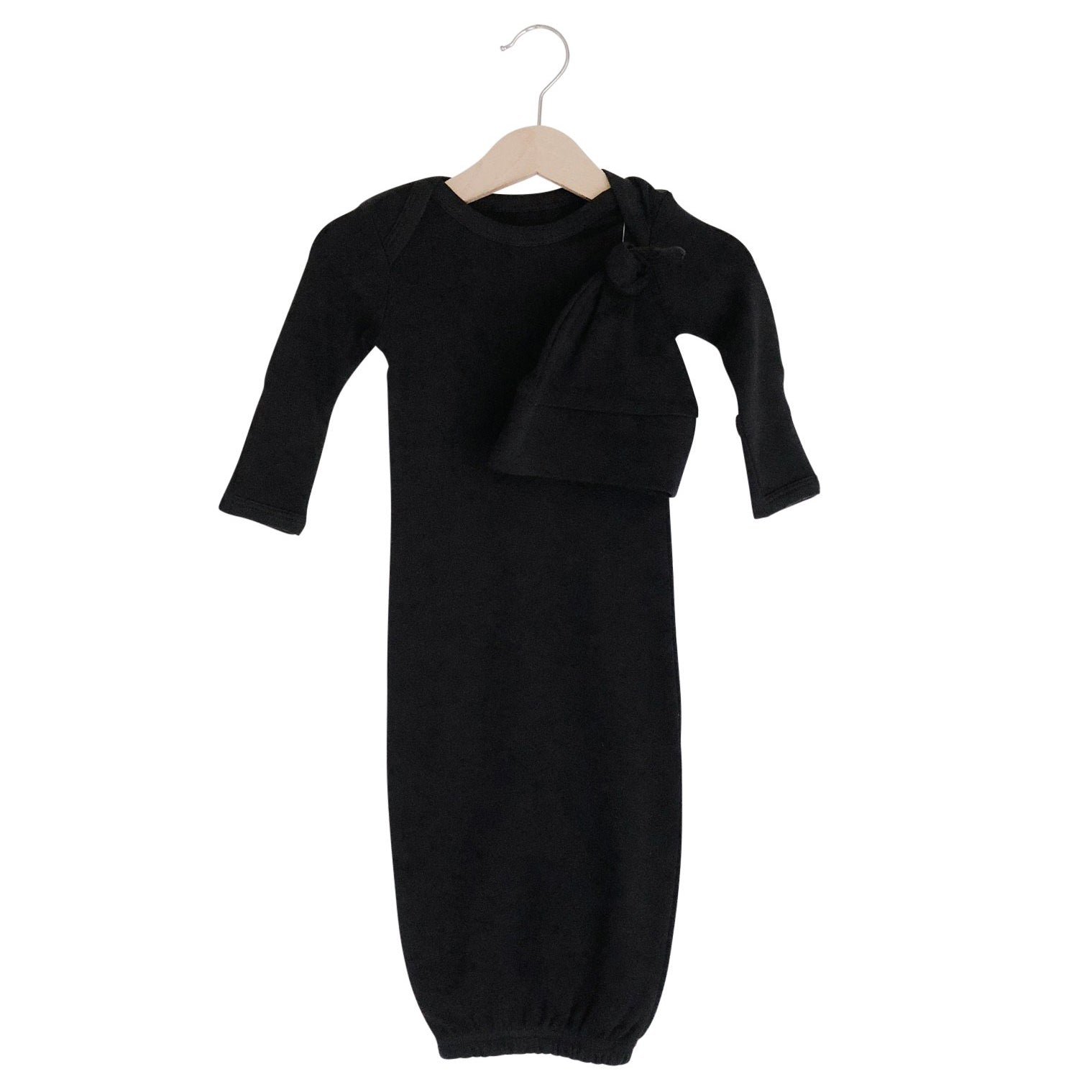 Organic Knot Hat + Gown Set | Black - Leo + Cullie