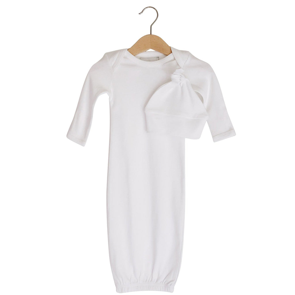 Organic Knot Hat + Gown Set | White - Leo + Cullie