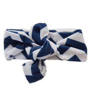 Knot Happens Top Knot Headband | City Chevron Navy - Leo + Cullie