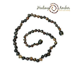 "Amber 18"" Adult Necklace Raw Olive"