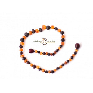 "Amber 13"" Baby Necklace Raw Duo Dark"