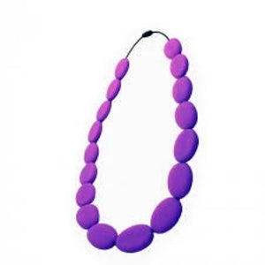 NIBBLYBITS FLAT BEAD PURPLE NECKLACE