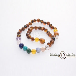"Amber 13"" Necklace with Gemstone - Caramel"