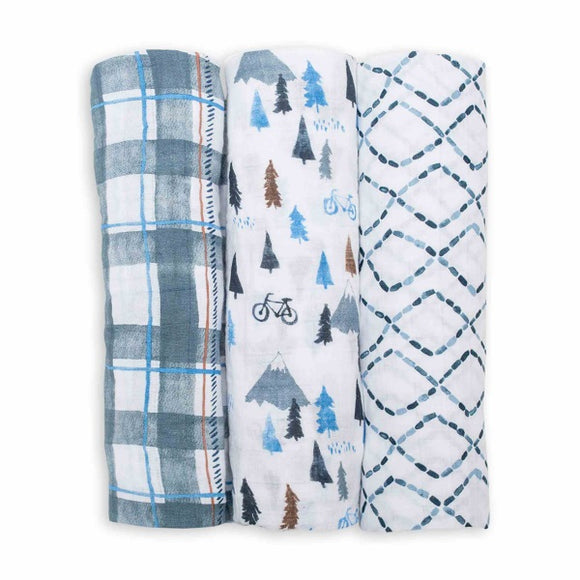 Lulujo 3pk Cotton Swaddle - Navy Mountain