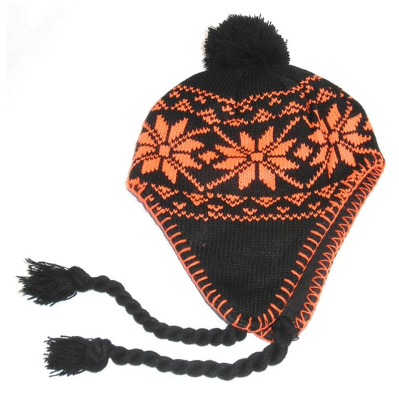 Neon Knit Hat 2-7 Yrs Orange