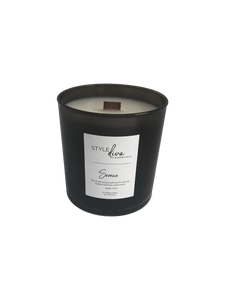 Black glass 9 oz soy blend with wood wick. Chamomile and sage fragrance.