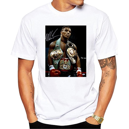 Mike Tyson Poster Printed Casual T-Shirt Short Sleeve Retro  T Shirt