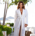 Boca Terry | Womens and Mens White Cotton Bathrobe | One Size Fits All